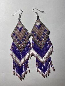 Large NA Style Beaded Earrings With Fringe