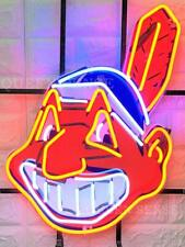 "New Cleveland Indians Chief Wahoo Neon Light Sign 20""x16"" Hd Vivid Printing"