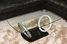 MODERN WHITE SILVER HIGH GLOSS LOW Coffee Table Glass Living Room Office