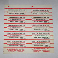 Aretha Franklin Full Sheet 10 Jukebox Title Strips I Can't See Myself Leavin You