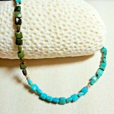 FACETED TURQUOISE MULTI-COLOR SQUARES STERLING SILVER NECKLACE - FUN!