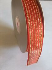 Gift Wrapping Ribbon Organza with Satin Edge  Red/Gold  , 7/8""