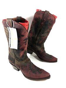 NEW Women's Dan Post Western Boots Brown Red Overlay Sz 10 B