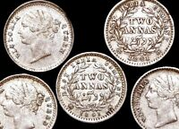 Two (2) British India Victoria Silver 2 Annas 1841 Bombay Mint Coins KM 460.3