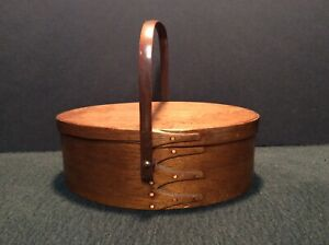 Antique Shaker Moire Lined Handled Sewing Basket (As Is)