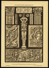 Antique Print-FRENCH RENAISSANCE-MOTIVES-ORNAMENTS-Plate 62-Dolmetsch-1887