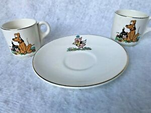 3 pieces Beswick Disney child's tea set cup saucer plate Plutoi Piper Pig