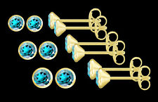 ECHT GOLD *** 1 Paar Blautopas Ohrstecker, wählbar in 3,5 - 4 - 4,5 mm Ø
