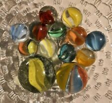 Vintage Marble Lot of 13 Shooters Assorted Marbles Clear Cat Eyes Mixed Color