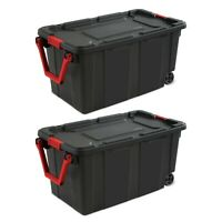 40 Gallon Rolling Plastic Storage Boxes Bins Totes Large Containers Case Of 2