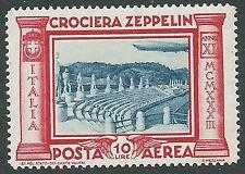 1933 REGNO POSTA AEREA ZEPPELIN 10 LIRE LUSSO MNH ** - IT