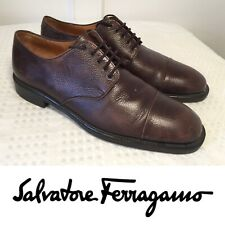 SALVATORE FERRAGAMO Size 8.5 Brown Textured Leather Cap-Toe Oxford Dress Shoes