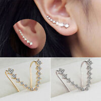 Women Long Large Statement Crystal Ear Climber Crawler Cuff Stud Earrings Call