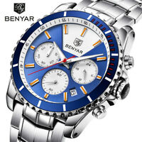 BENYAR Mens Quartz Watch Full Stainless Steel Band Wristwatch Military Chrono