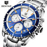 BENYAR Mens Quartz Watch Full Stainless Steel Band Wristwatch Military Chrono