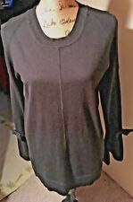 Karl Lagerfeld Cold Shoulder L Black Sweater with Bell Sleeves EUC
