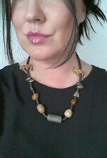 Modeschmuck Damenschmuck Holzkette braun Drehverschluss 56cm Halskette Kette #26