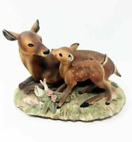"""Masterpiece Porcelain by Homco 1979 """"Fawn with Mother, Sweet Deer"""" Figurine"""