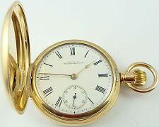 Waltham Traveler USA Antique RG keyless hunter pocket watch In Working Order