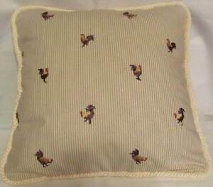 Provence French Country Cottage Pillow Hens Rooster Khaki Ivory Buffalo Check
