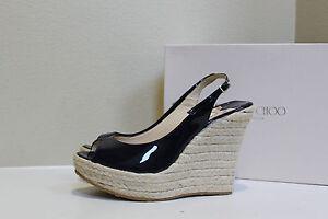 New sz 11.5 41.5 Jimmy Choo Polar Navy Patent Leather Sandal Peep Toe Wedge Shoe