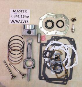 ENGINE REBUILD MASTER KIT W/Valves FOR KOHLER K341 16HP M16 w/16hp rod not 12hp