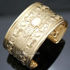 Victorian Egyptian Roman Gold Brocade Palace Sculpture Bracelet Bangle Cuff