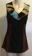 "Pre-loved  ""Merric"" Black/multi-colour sleeveless Tunic Top Size 10"