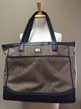 Nine & Co By Nine West Brown Chain link Print Large Tote Bag cotton/poly 16x14x5