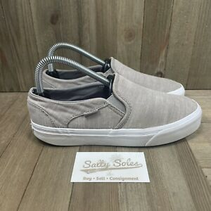 Vans Off The Wall Classic Slip On Grey Fabric Skate Shoes Womens Size 7.5