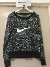 Women's Nike Club Printed Sweatshirt Top Black/Grey Size M