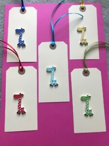 5 X HANDMADE LARGE CREAM GIRAFFE GIFT TAGS THANKYOU KIDS BIRTHDAY BABY SHOWER
