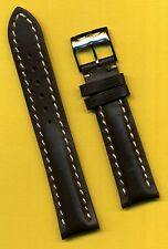 BREITLING BUCKLE & 20mm BROWN GENUINE LEATHER STRAP BAND WHITE STITCHING PADDED