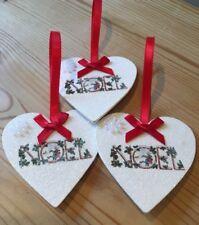 1 X Style Vintage Noel Noël Suspendu Décorations fait main en bois véritable decals