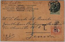 BRAZIL -  POSTAL HISTORY - POSTCARD to ITALY: TAXED on ARRIVAL with SEGNATASSE