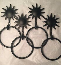 "4-Black Metal Decorative Hooks w/5""rings, Sun, window scarf, valance, hand-towel"