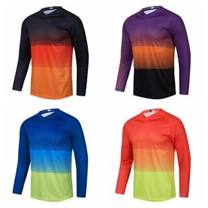 Men Cycling Jersey Downhill T-Shirt Long Sleeve Motorcycle Breathable Bike Tops