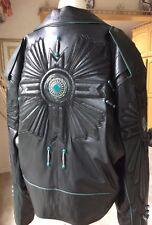 VINTAGE BAJA GENIUNE BLACK LEATHER JACKET S/XL WITH FRINGE & TURQUOISE STONES