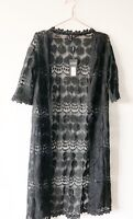 Black Lace Boho Kimono Duster CoverUp Hippy Festival Maxi Long 8 Summer Holiday