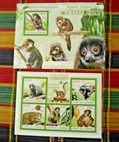 COMOROS  2009  Lemur  Primates Fauna Wild life  MNH Set of 2 Miniature sheets