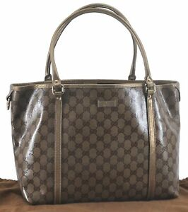 Authentic GUCCI GG Crystal Tote Bag PVC Leather Brown Gold C6159