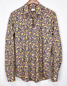 GLANSHIRT SLOWEAR Floral Cotton Lawn Shirt 40 / 15.5 Slim LN Italy Liberty Print