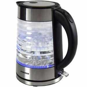 Wasserkocher 1,7 Liter Edelstahl Glas Wasserkocher Agua mit blauem LED Licht