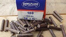 1 BOX 100 NOS GENUINE FIBRE RAWL PLUGS BOXED 1 1/2 x 14 RAWLPUGS FIBER BLUE