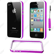 Housse Coque Etui Bumper Violet / Blanc Apple iPhone 4S 4 + Mini Stylet