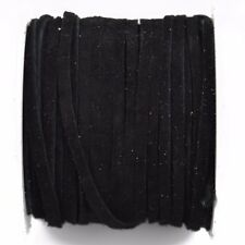 """25yd 1/8"""" Flat Suede Leather Lace, Black, Realeather 3mm, Lth0022"""