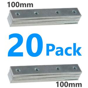 20 Steel Mending Fixing Plate Flat Brackets Straight Repair Braces Joining 100mm
