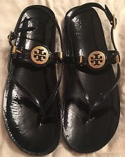 Women's Designer TORY BURCH Black Patent Leather Thong Sandals Gold Logo Size 9