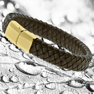 Mens Genuine Flat Brown Leather Braided Wristband Bracelet Stainless Steel Clasp