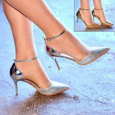 Ladies Sparkly Mid Heel Shoes Pointed Toe Strappy Party Heels Court Shoe Size